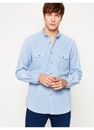 Koton Cep Detaylı Gömlek Mavi